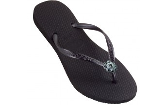 Havaianas Slim Crystal Flower - Black